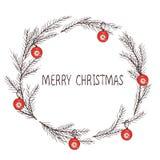 Vektorbild av en julkrans, en krans av gran Inskrift för glad jul i mitten bolljulen isolerade white för mood tre Universellt bru royaltyfri illustrationer