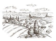 Vektorbild av ett fält, höstackar, ett träd och ett hus i den Tuscan stilen stock illustrationer