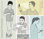 Vektorbild av folk som använder smartphonen vektor illustrationer