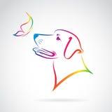 Vektorbild av hunden och fjärilen Fotografering för Bildbyråer