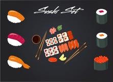 Vektorbild av japansk kokkonst, rullar, sushimeny för restaurangen, kafé, bistroer, stock illustrationer