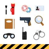 Vektorbild av uppsättningen av detektiv- tillbehör stock illustrationer