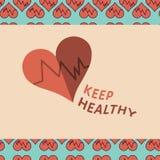 Vektorbild der Herzschlaglesung halten gesund lizenzfreie abbildung