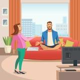Vektorbild einer entspannenden familiären Umgebung lizenzfreie abbildung
