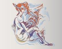 Vektorbild einer fantastischen amphibisch Frau stock abbildung
