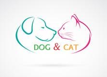 Vektorbild eines Hundes und der Katze Stockbilder