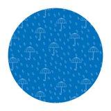 Vektorbild i en cirkel Regna och paraplyer vektor illustrationer
