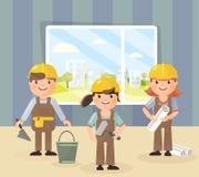 Vektorbild im Stil der Ebene Reparatur und ein Team von Schlossern in den Sturzhelmen, werden sie Reparaturen und Bau tun Stockfoto