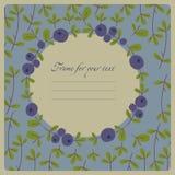 Vektorbild med bär och sidor av blåbär, för D Fotografering för Bildbyråer