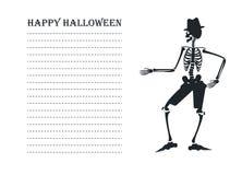 Vektorbild mit Schattenbild des Skeletts Stockfotografie