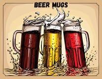 Vektorbild von drei Bechern Bier Stockfoto