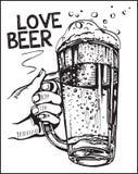 Vektorbild von einer Hand, die Bierkrüge hält Liebesbier Lizenzfreies Stockfoto