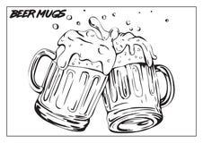 Vektorbild von zwei Bechern Bier Lizenzfreie Stockfotos