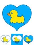 Vektorbilden av gult gummi duckar simning i hjärtor stock illustrationer