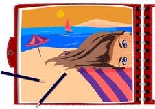 Vektorbilden, konstnären målar en flicka i en anteckningsbok royaltyfri illustrationer