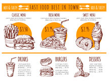 Vektorbilder av bistromenyn Drog illustrationer för restaurangsnabbmatvektor hand vektor illustrationer