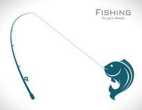 Vektorbilder av metspöet och fisken vektor illustrationer