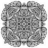 Vektorbildklotter som drar för att färga mandalaen Fyrkant eller Royaltyfri Bild