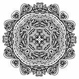 Vektorbildklotter som drar för att färga mandalaen Fyrkant eller Arkivbild
