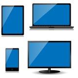 Vektorbildskärm, bärbar dator, minnestavladator och mobiltelefon Royaltyfria Foton