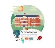 Vektorbildungs-Abdeckungsdesign Illustration Primär- oder grundlegender, mittlerer Highschool Fassade Lizenzfreies Stockfoto
