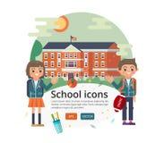 Vektorbildungs-Abdeckungsdesign Illustration Primär- oder grundlegender, mittlerer Highschool Fassade auf Sonnenlandschaft Stockfotografie