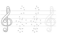 Vektorbildungsspiele für Kinder über Musik Lizenzfreie Stockbilder