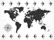Vektorbildvärldskarta med flygplan och kompasset stock illustrationer