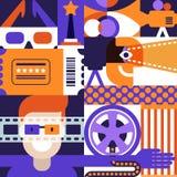 Vektorbio eller filmfestivalbegrepp geometrisk modell Bakgrundsdesign för affischen, ingångsteaterbiljett vektor illustrationer