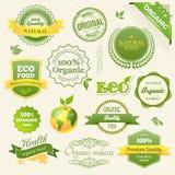 Vektorbiologisches Lebensmittel, Eco, Biokennsätze und Elemente Lizenzfreie Stockfotografie