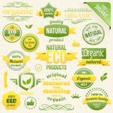 Vektorbiologisches Lebensmittel, Eco, Biokennsätze und Elemente Stockfotografie