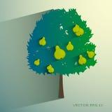 Vektorbirnenbaum lokalisiert auf hellem Hintergrund Stockbilder