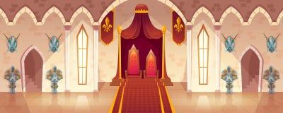 Vektorbiskopsstolrum i den medeltida slotten, slottkorridor royaltyfri illustrationer