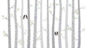 Vektorbjörk eller Aspen Trees med Autumn Leaves och förälskelsefåglar stock illustrationer