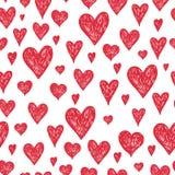 Vektorbläckpennabakgrund med röda hjärtor Royaltyfri Bild