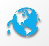 Vektorblått jorda en kontakt jordklotet med tappar av bevattnar. Arkivfoto