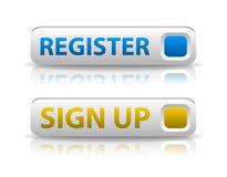 Vektorblått registrerar och gulnar undertecknar upp knappen Arkivfoto