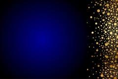 Blåttbakgrund med guld- konfettiar Arkivfoton