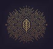 Vektorblad, guld- form, linjär symbol Abstrakt emblem, designbegrepp, logo stock illustrationer
