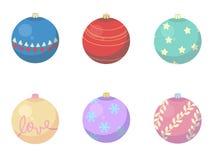 Vektorblandning av olika garneringar för julstruntsakträd royaltyfri illustrationer