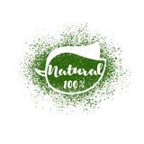 Vektorblatt mit Beschriftung: natürliche 100 Prozent Lizenzfreies Stockfoto