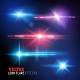 Vektorblendenfleck- und -sonnenlichtaufflackern Stockfotos