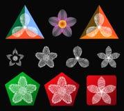 Vektorblommasymboler Arkivbilder