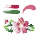 Vektorblommor, dekorativ målningbeståndsdel stock illustrationer