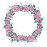 Vektorblumen eingestellt Schöner Kranz Elegante Blumensammlung mit lokalisierten Blauen, Rosablättern und Blumen, Hand gezeichnet Stockbilder