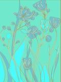 Vektorblumenbeschaffenheitsmuster mit blauen Blumen Gelbe Blumen, Basisrecheneinheit, Inneres mit Tropfen Blaues Blumenmuster Stockfotos