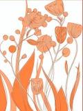 Vektorblumenbeschaffenheitsmuster mit orange Blumen Gelbe Blumen, Basisrecheneinheit, Inneres mit Tropfen Orange Blumenmuster Lizenzfreie Stockfotografie