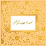 Vektorblumenkartendesign: goldene Mohnblume der Gartenblume Vektor-EL Stockfotos