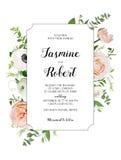 Vektorblumenkartendesign Hellrosa Garten Rose, Anemone Poppy Lizenzfreie Stockbilder
