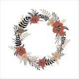Vektorblumenkranz auf weißem Hintergrund Von Hand gezeichnet Abbildungen Entwerfen Sie für Einladungs-, Hochzeits- oder Grußkarte Stockbilder